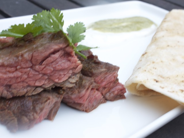 Skirt Steak with Tomatillo Salsa and Creme Fraiche