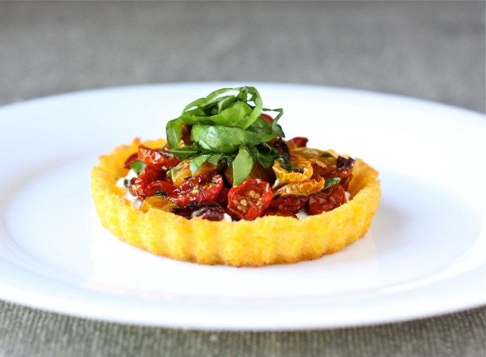 polenta tart with goat cheese and slow roasted tomatoes