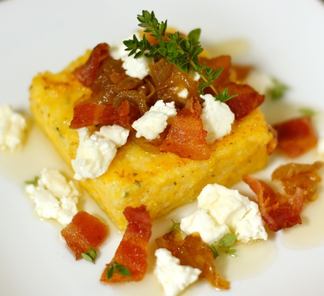 Goat Cheese Polenta with Caramelized Onions, Bacon, and Honey
