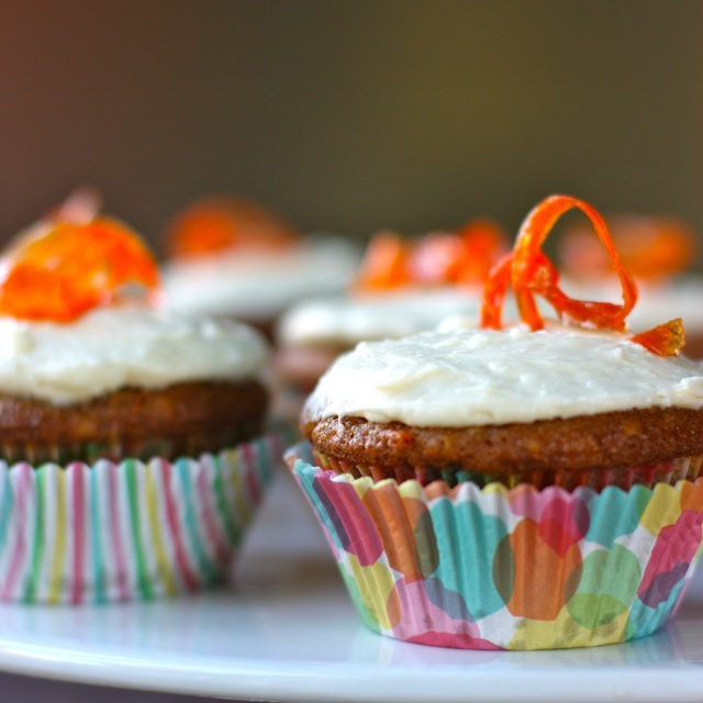 carrot cupcakes with orange honey cream cheese frosting ...