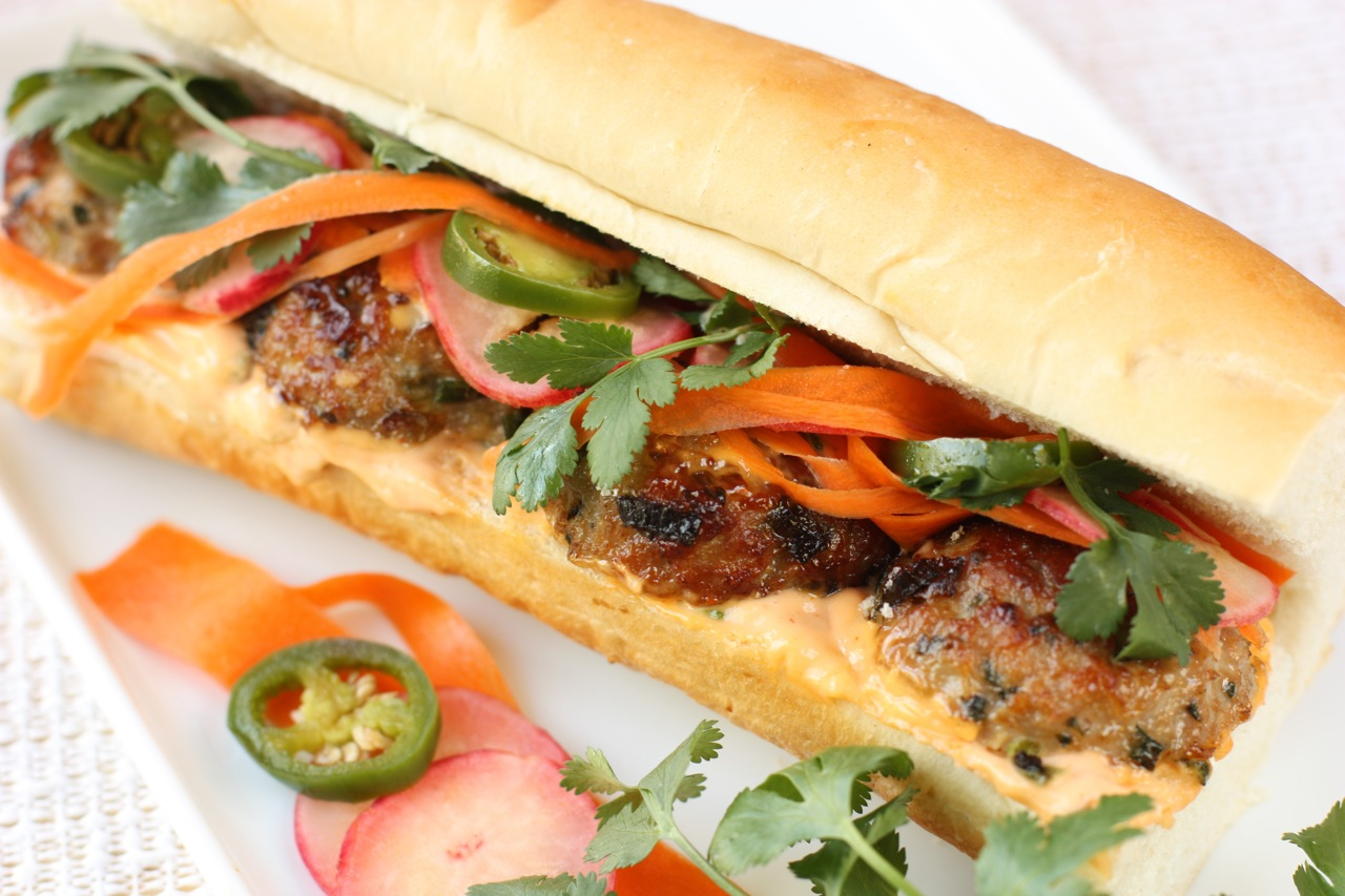 pork meatball bánh mì sandwich | daisysworld.net