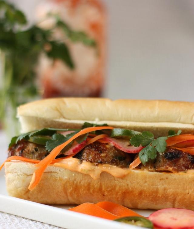 pork meatball bánh mì sandwich