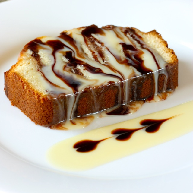 Condensed Milk Pound Cake  with Chocolate Drizzle