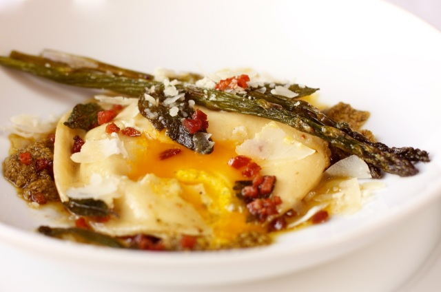 Bacon and Egg Raviolo with Asparagus