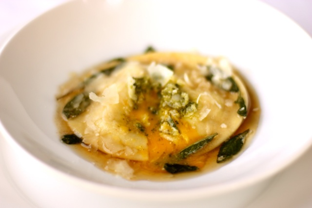 Egg Raviolo with Pesto and Brown Butter-Sage Sauce