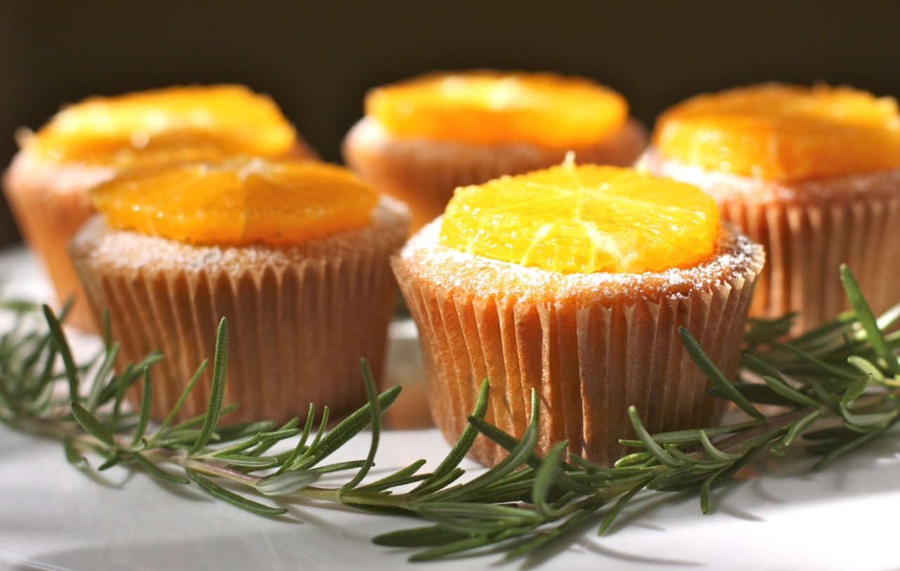 rosemary orange olive oil muffins with orange slices