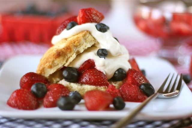Red, White, and Blue-Berry Shortcake