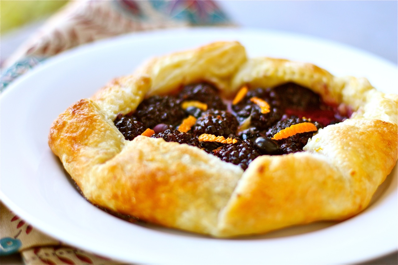 blackberry galette with mascarpone and orange marmalade