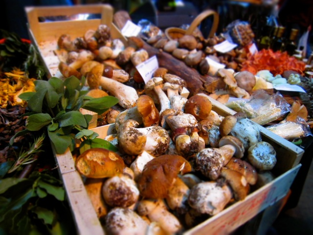 Mushroom Display at Turnips, Borough Market in London