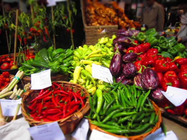 Peppers Display at Turnips, Borough Market in London