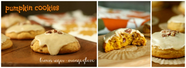 pumpkin cookies with brown sugar-orange glaze