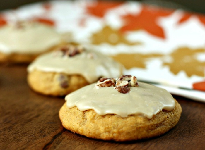 pumpkin cookies with brown sugar & orange glaze