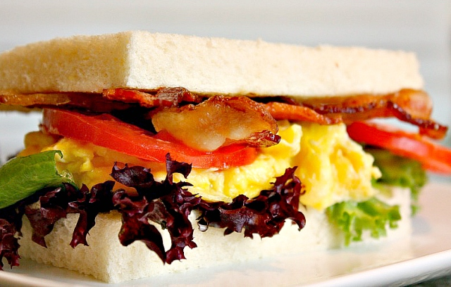 Breakfast Sandwich with bacon, eggs, and aioli sauce