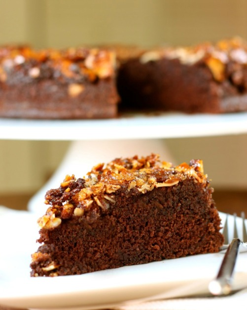 Chocolate-Almond Upside-Down Cake 2