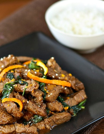 Spicy Clementine Beef Stir-Fry with rice
