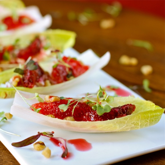 Endive Stuffed With Goat Cheese Blood Orange And Walnuts