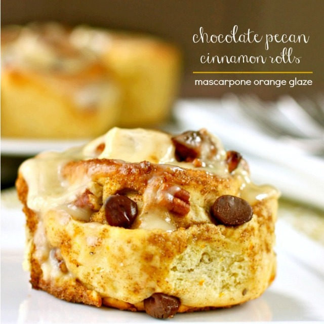 Chocolate Pecan Cinnamon Rolls with Mascarpone Orange Glaze
