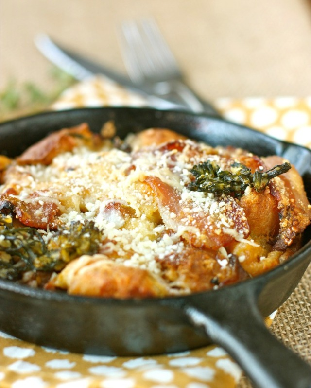 Parmesan Bread Pudding with Baby Broccoli, Mushrooms, and Pancetta