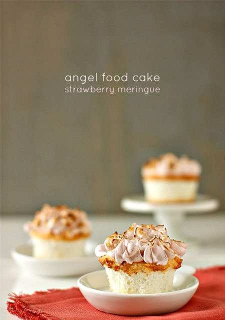 Angel Food Cake with Strawberry Meringue
