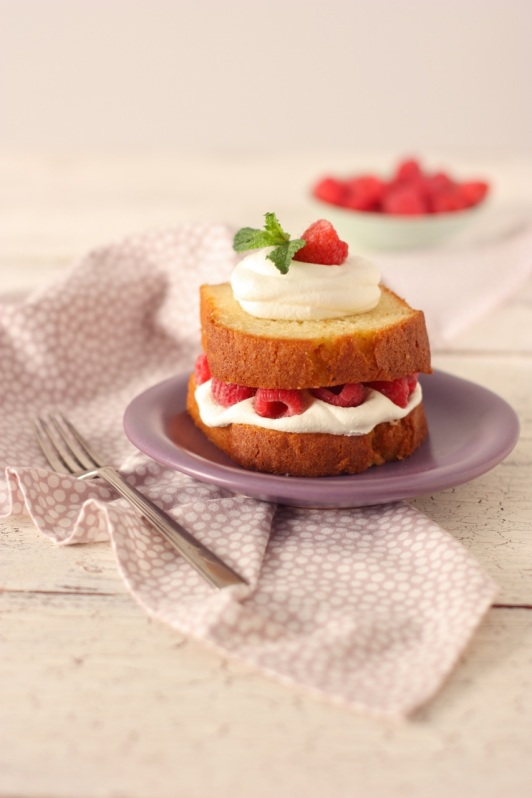 Pound Cake with Raspberries and Cream