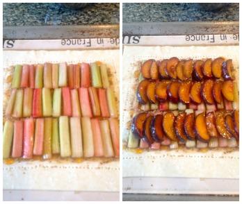 Black Velvet Apricot and Rhubarb Tart assembly