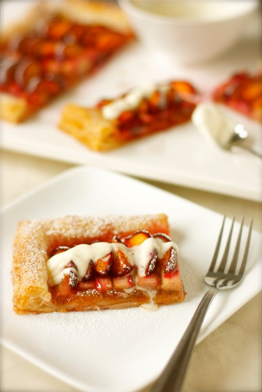 Black Velvet Apricot and Rhubarb Tart