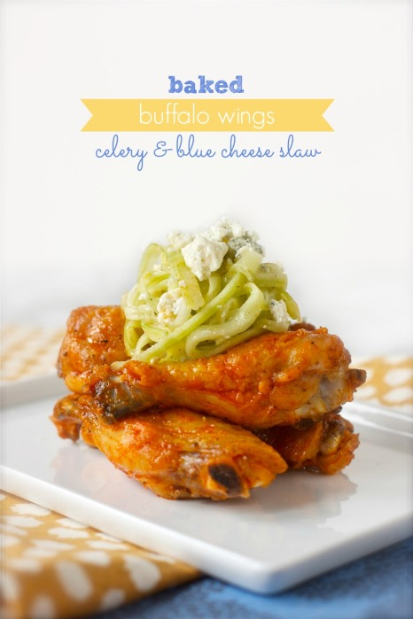Buffalo Wings with Celery & Blue Cheese Slaw