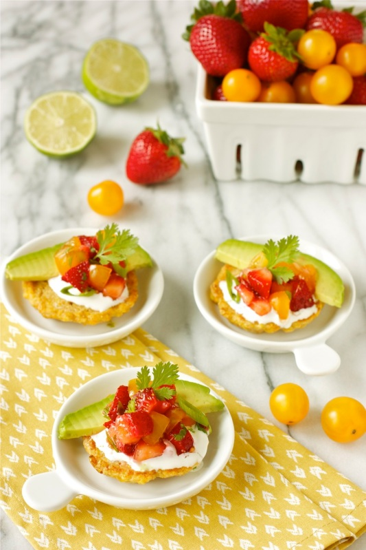 Corn Cakes wth Strawberry-Tomato Salsa