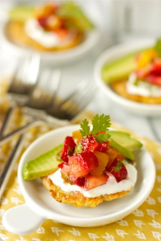 Corn Cakes wth Strawberry-Tomato Salsa