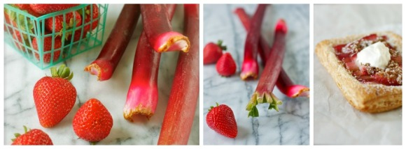 strawberry rhubarb tarts collage