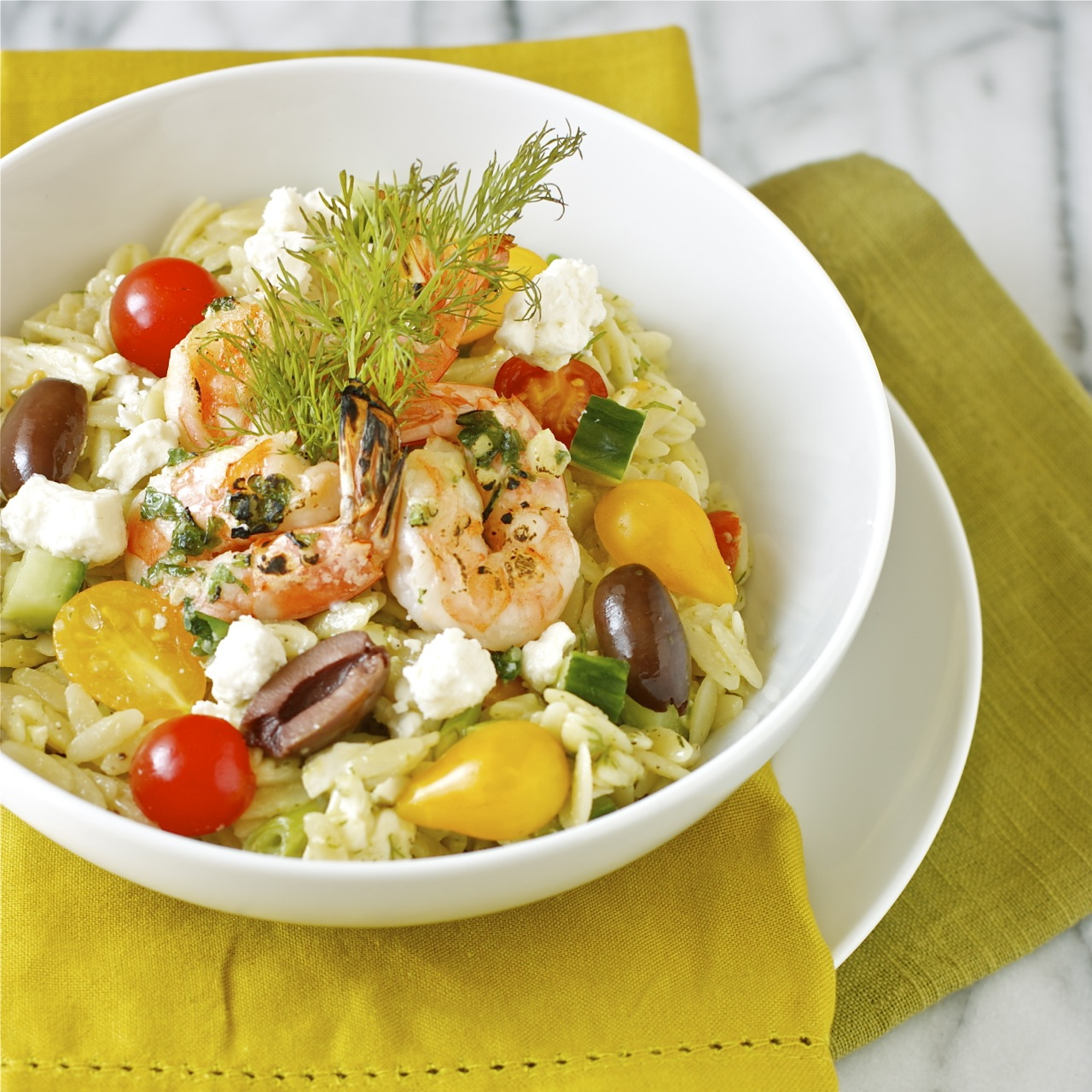 Greek Orzo Salad with Mustard-Dill Vinaigrette | daisysworld.net