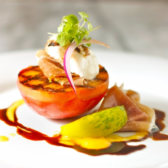 grilled peaches with burrata and prosciutto