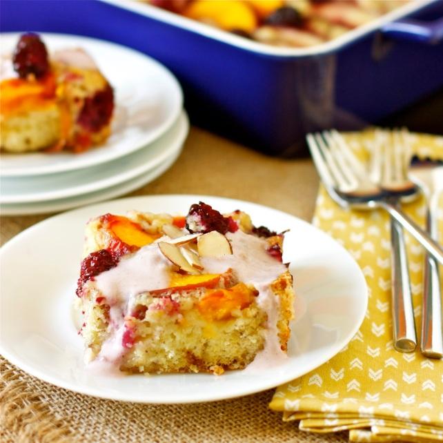 Nectarine, Peach, and Blackberry Cake