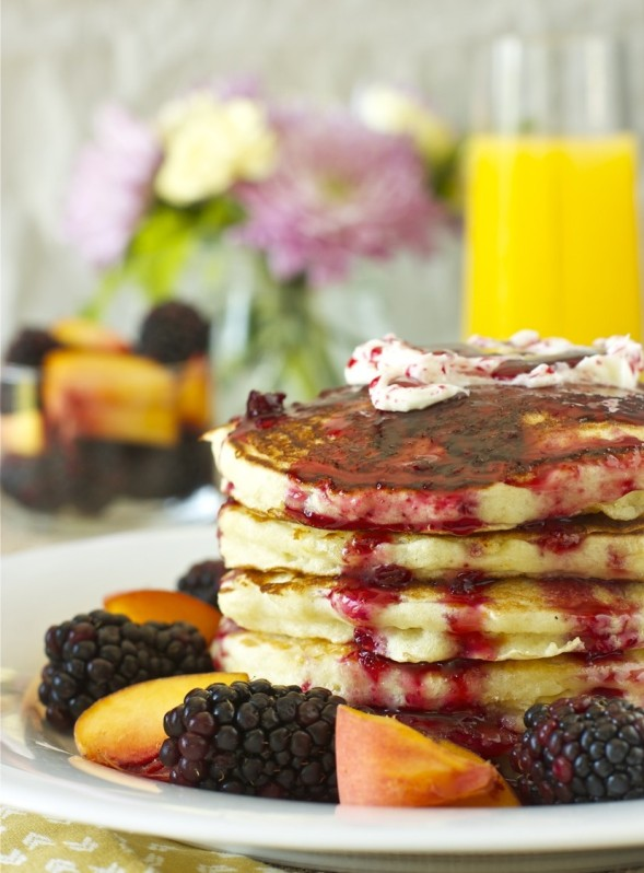 Orange Buttermilk Pancakes with Blackberry Maple Syrup