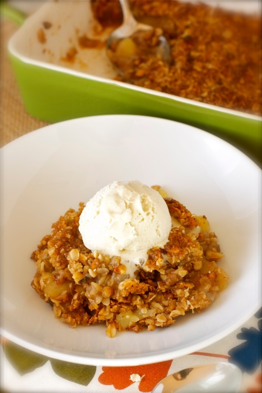 Apple Crisp with Oatmeal Walnut Streusel Topping