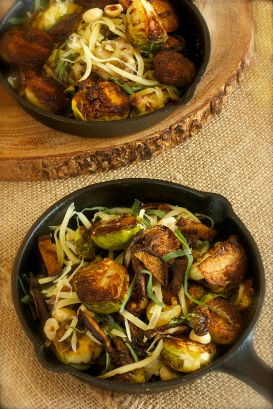 Brown Butter Brussels Sprouts With Crispy Shiitake