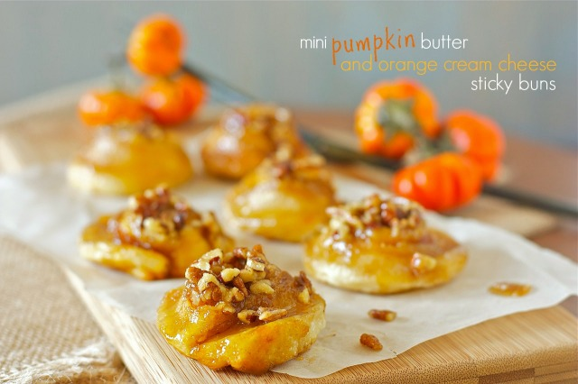 Mini Pumpkin Butter and Orange Cream Cheese Sticky Buns