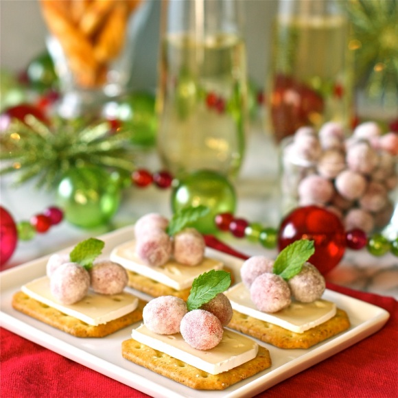 brie bites with sugared cranberries