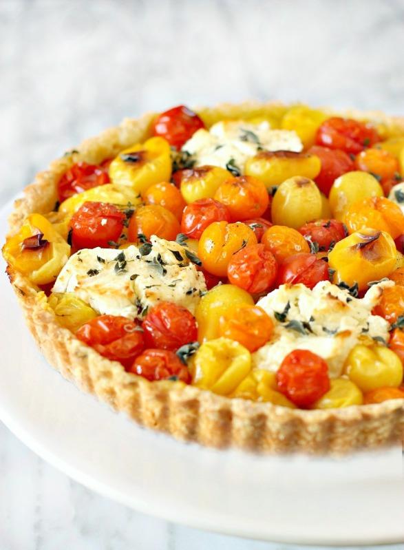 French Cherry Tomato Tart with Dijon Mustard and Chèvre | daisysworld.net